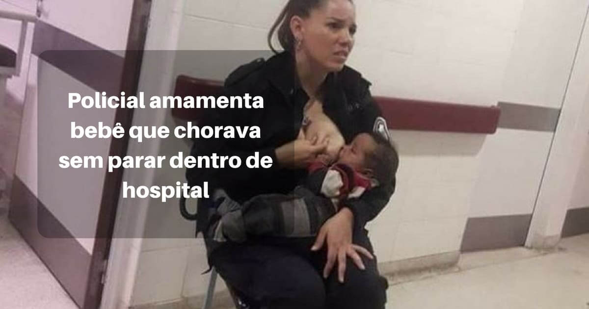 Uma Policial amamenta bebê abandonado em hospital
