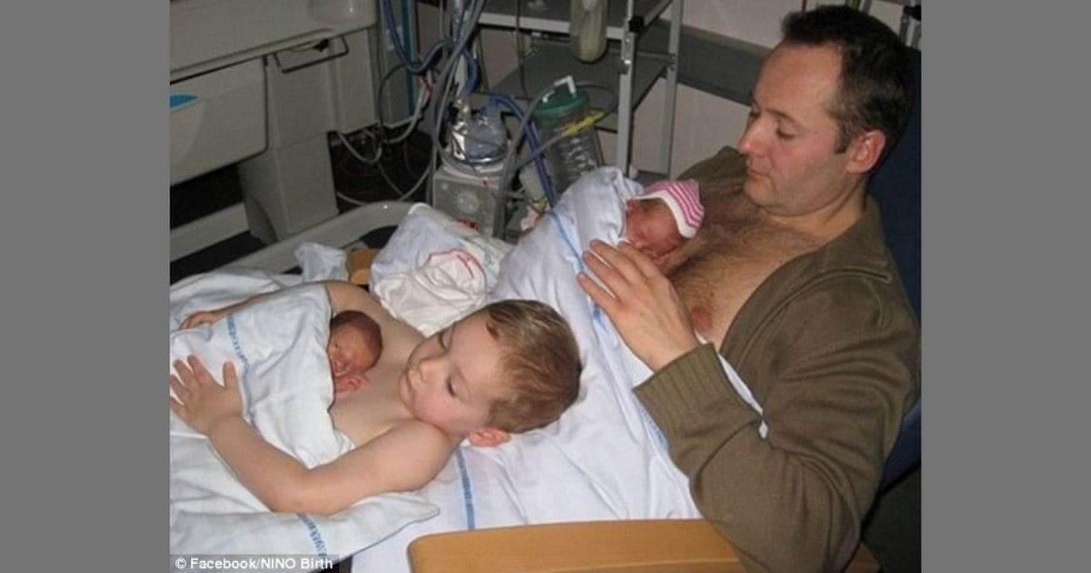 Imagem de menino ajudando ao pai no hospital viraliza na internet